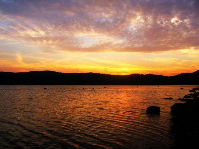 Zdjęcia: jezioro mjosa, zachód słońca nad jeziorem, NORWEGIA