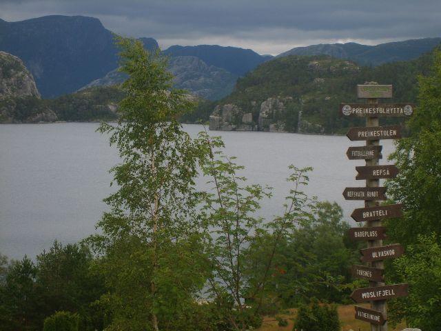 Zdjęcia: Preikestolen, południe Norwegii, Drogowskaz, NORWEGIA