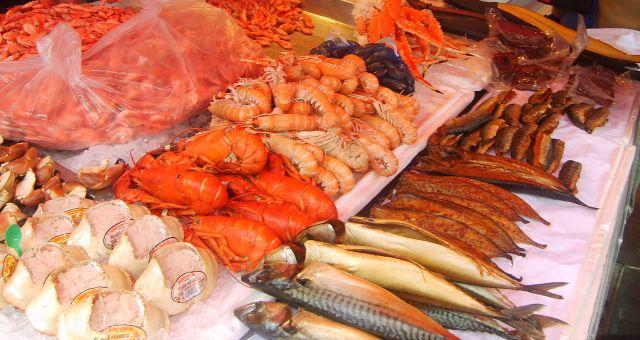 Zdjęcia: Targ rybny, Bergen, frutti di mare, NORWEGIA