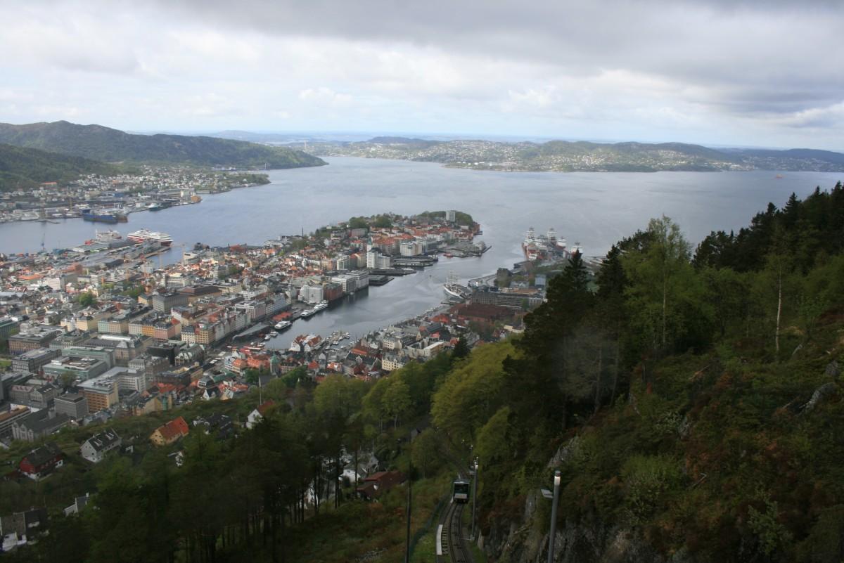 Zdjęcia: Bergen, Hordaland, Widok z góry Fløyen, NORWEGIA
