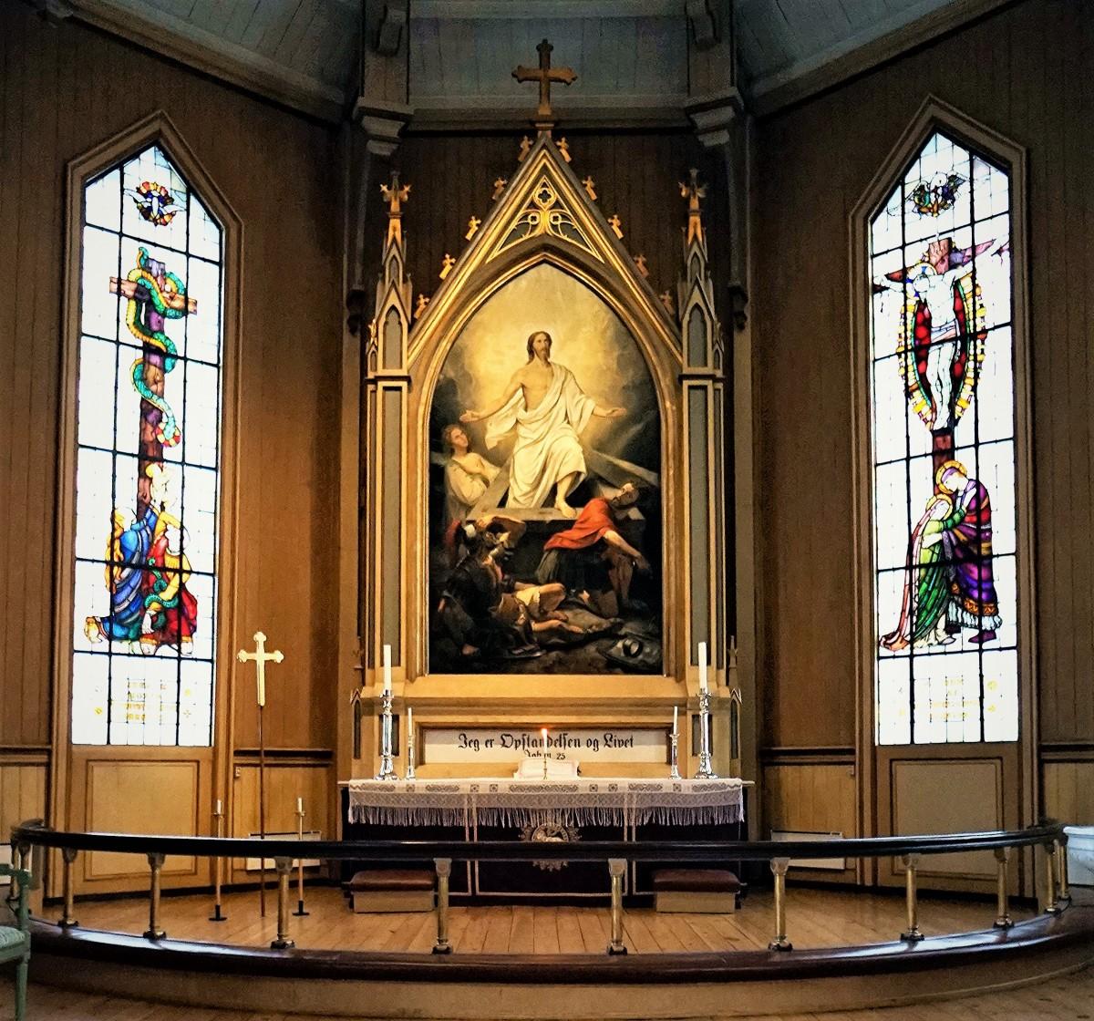 Zdjęcia: Katedra luterańska, ołtarz, Tromsø, Zmartwychwstanie, NORWEGIA
