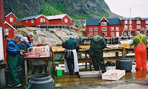 NORWEGIA / Lofoty / miejscowosc A / Rybacy