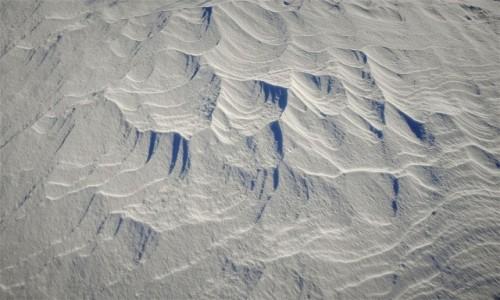 Zdjecie NORWEGIA / Troms / Ersfjordbotn / Jak wiatr rzeźbi w śniegu