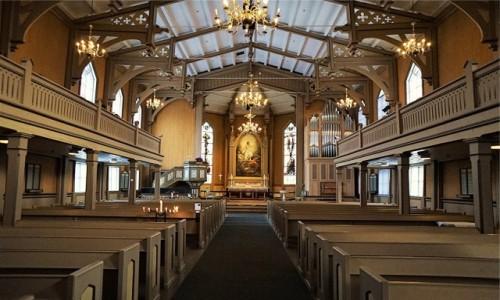 Zdjecie NORWEGIA / Troms / Tromsø / Wnętrze katedry luterańskiej