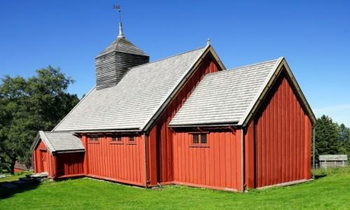 Zdjecie NORWEGIA / Trondheim, Sverresborg  / Trondelag Folk Museum / Drewniany kościół z XIX w.