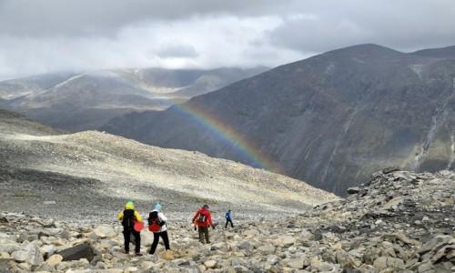 Zdjecie NORWEGIA / Oppland / Galdhopiggen / tęcza w górach Jotunheimen
