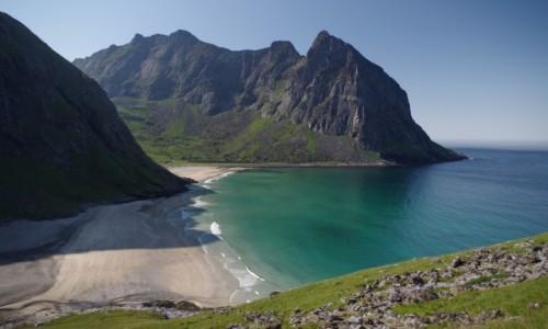 Zdjęcie NORWEGIA / Lofoty / Fredvang / Lofoty Kvalvika Beach