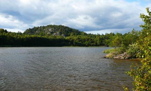 Zdjęcie NORWEGIA / Brunlanes / nad jeziorem / Norweska jesień