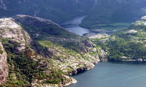Zdjecie NORWEGIA / Rogaland / nieopodal Lyseboth / Widok z Preikes