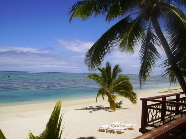 Zdjęcia: atol Aitutaki, Wyspy Cooka, widok z tarasu naszego domku na palach, NOWA ZELANDIA