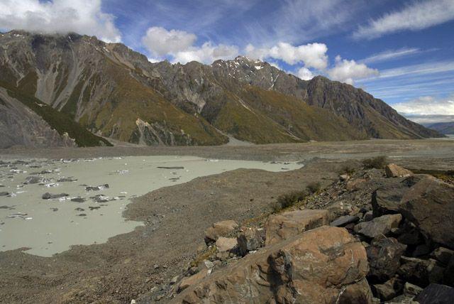 Zdj�cia: wyspa polodniowa, lodowa rzeczka, NOWA ZELANDIA