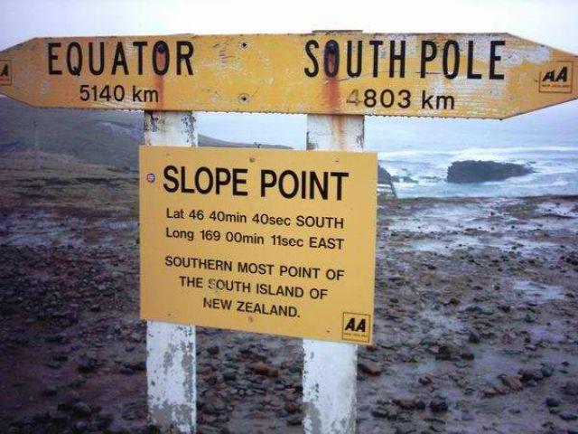Zdj�cia: przyl�dek Slope Point, Wyspa Po�udniowa, dalej ju� tylko ocean i Antarktyda, NOWA ZELANDIA