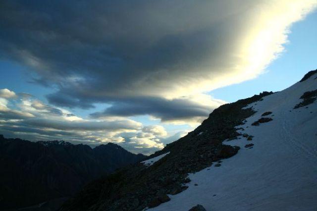Zdj�cia: Alpy nowozelandzkie, Widok z Caroline hut po zachodzie s�o�ca, NOWA ZELANDIA