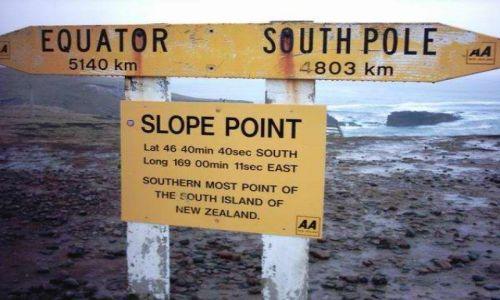 Zdjecie NOWA ZELANDIA / Wyspa Południowa / przylądek Slope Point / dalej już tylko ocean i Antarktyda