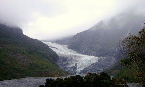 Zdjecie NOWA ZELANDIA / Wyspa Południowa / Westland / Franz Josef Glazier wyłaniający się z porannej mgły