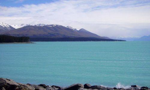Zdjecie NOWA ZELANDIA / Wyspa Południowa / Lake Pukaki / turkusowe jezioro