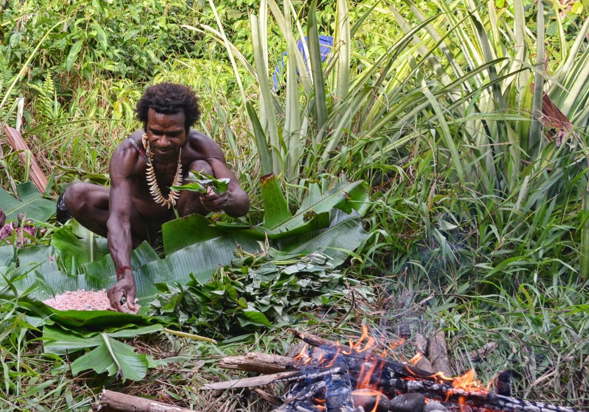 Zdjęcia: dwa dni marszu od wioski Mabul, las deszczowy, Papua Zachodnia, Korowaj szykuje obiad (uprzednio upolowany), PAPUA NOWA GWINEA