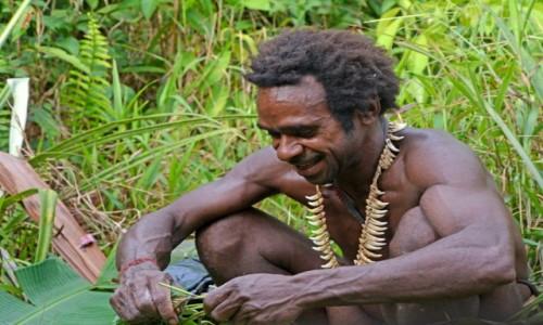 PAPUA NOWA GWINEA / Papua Zachodnia / dwa dni marszu od wioski Mabul, las deszczowy / Korowaj radosny :)