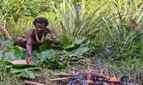 PAPUA NOWA GWINEA / Papua Zachodnia / dwa dni marszu od wioski Mabul, las deszczowy / Korowaj szykuje obiad (uprzednio upolowany)