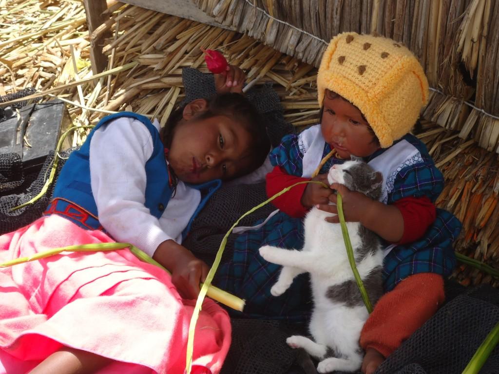 Zdjęcia: Wyspy Uros, Puno, z kotem ..., PERU