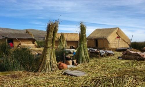 Zdjęcie PERU / Jezioro Titicaca / Uros / Chałupki na wyspie Uros