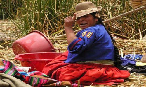 Zdjecie PERU / Jezioro Titicaca / Pływające wyspy trzcinowe Uros / Przepierka