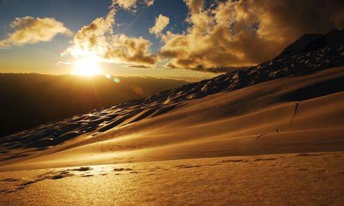 Zdjecie PERU / Cordillera Blanca / Huascaran  / lodowiec o zachodzie