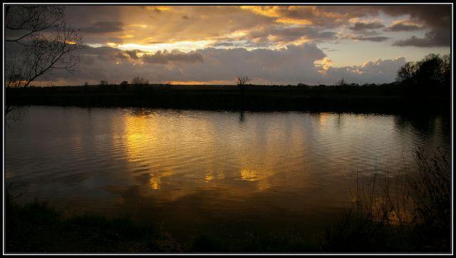 Zdjęcia: rzeka Odra koło Krapkowic, Ślask Opolski, zachód słońca 3, POLSKA