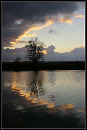Zdjęcia: rzeka Odra koło Krapkowic, Ślask Opolski, zachód słońca 5, POLSKA