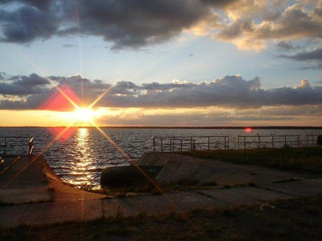Zdjęcia: Lubin, Wyspa Wolin, Zachód słońca nad Zalewem Szczecińskim, POLSKA