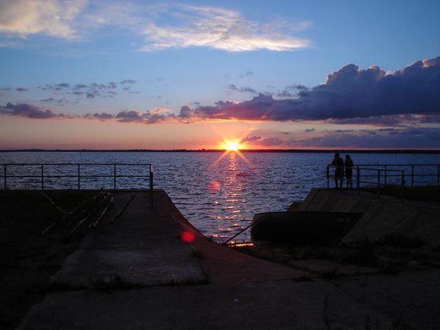 Zdj�cia: Lubin, Wyspa Wolin, Zach�d s�o�ca nad Zalewem Szczeci�skim, POLSKA