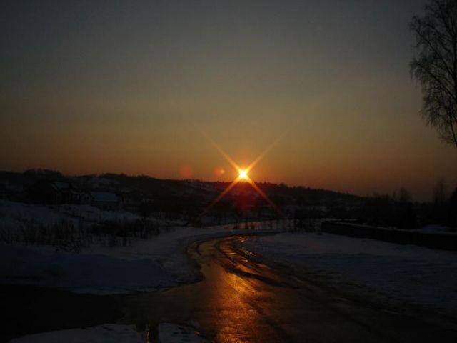 Zdjęcia: Okolice Zagnańska, Góry Świętokrzyskie, Zachód słońca na szlaku, POLSKA