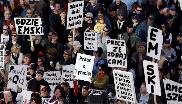 Zdjęcia: Przed siedzibą Globtrotera, Chyba Wrocław?, Demonstracja, POLSKA
