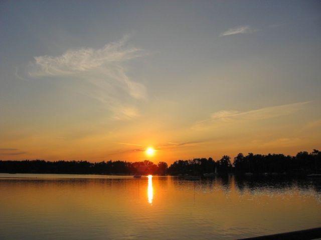 Zdjęcia: Morzyczyn, Zachodniopomorskie, Jezioro Miedwie o zachodzie słońca, POLSKA