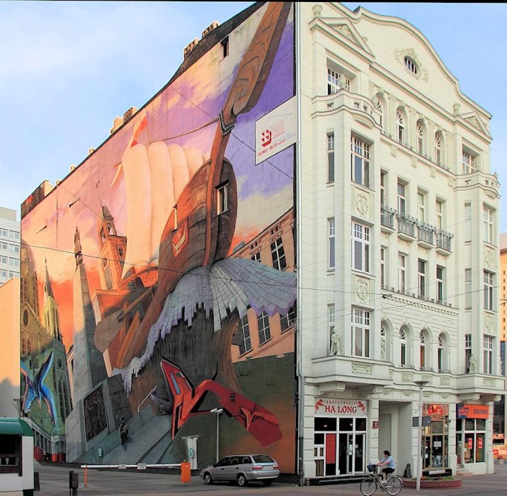 Zdj cia d ul piotrkowska mural polska for Mural na tamie w solinie
