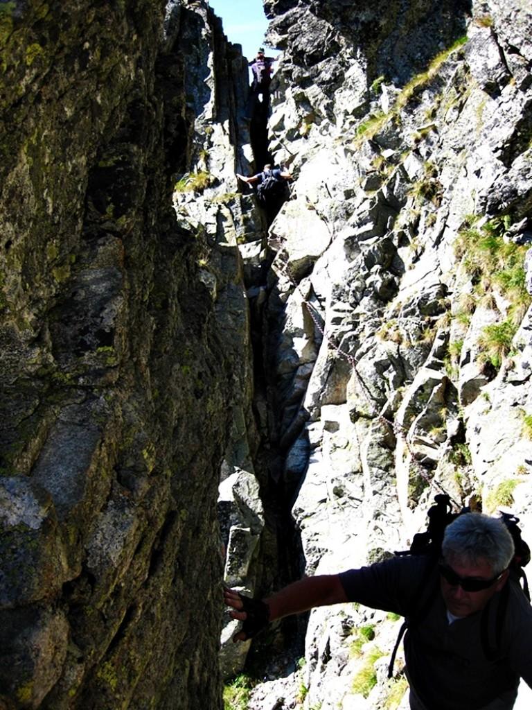 Zdjęcia: Orla Perć, Tatry Wysokie, Kominek sprowadzający na Przełęcz Pościel Jasińskiego, POLSKA