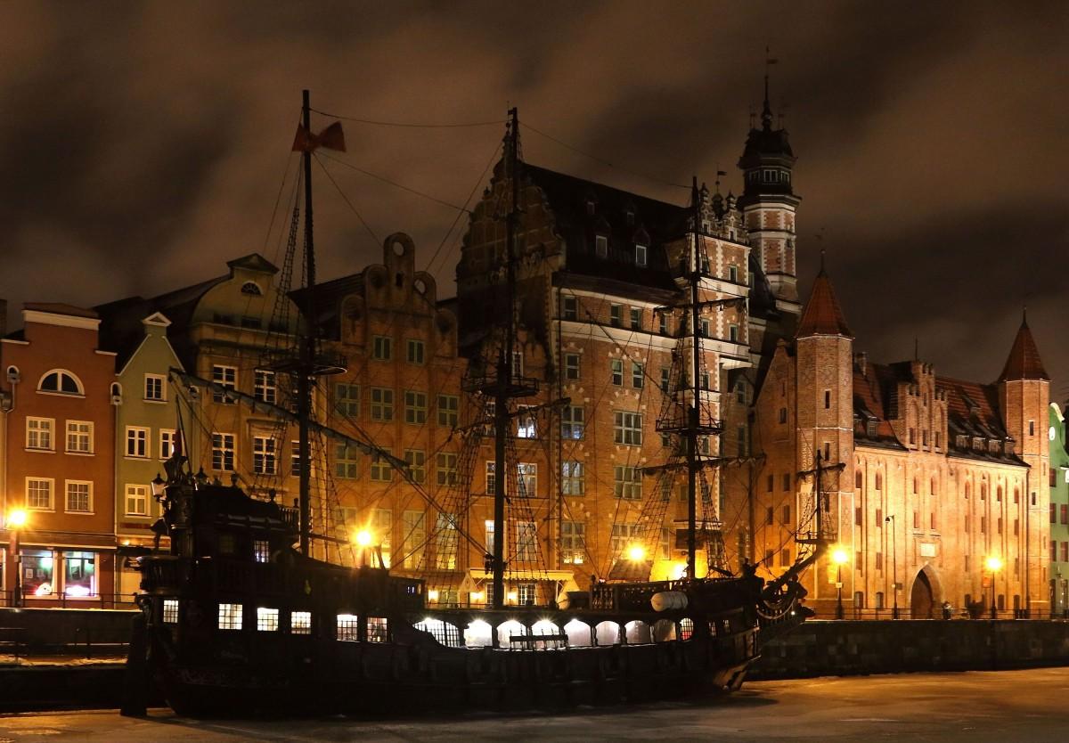Zdjęcia: Gdańsk, pomorski, nocny spacer nad Motławą, POLSKA