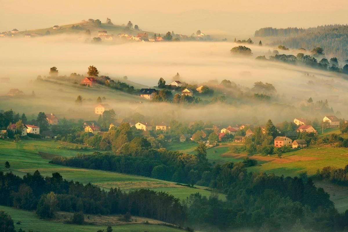 Zdjęcia: Złoty Groń, Beskid Śląski, Poranek na Złotym Groniu, POLSKA