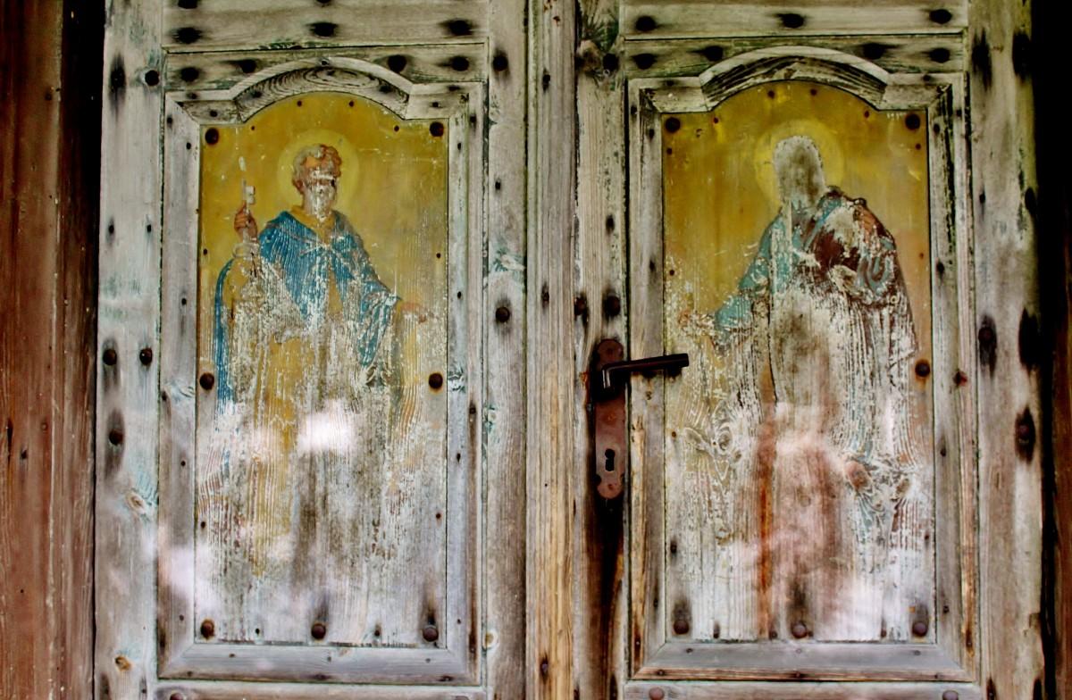 Zdjęcia: Dłużniów, województwo lubelskie, Malowidła na drzwiach, POLSKA