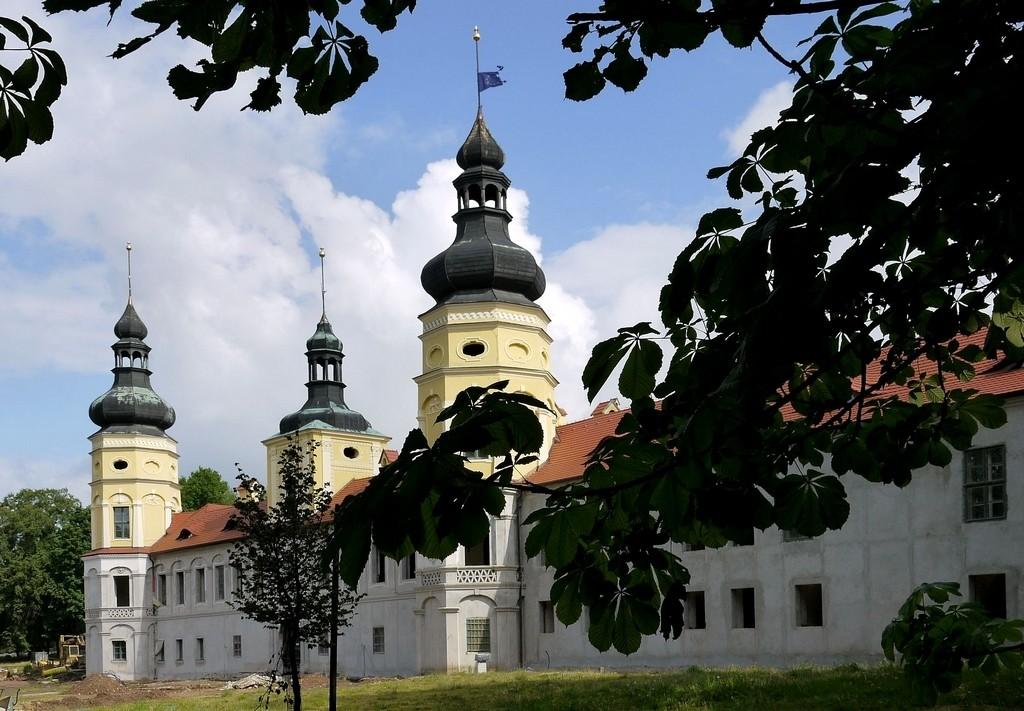Zdjęcia: Żyrowa, opolskie, Pałac od strony murów zewnętrznych., POLSKA
