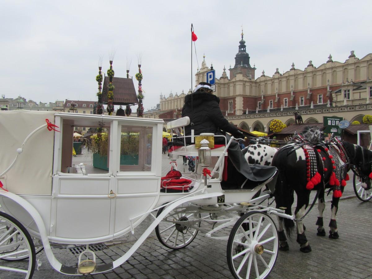 Zdjęcia: Kraków, Kraków, Rynek Sukiennice Dorożka, POLSKA