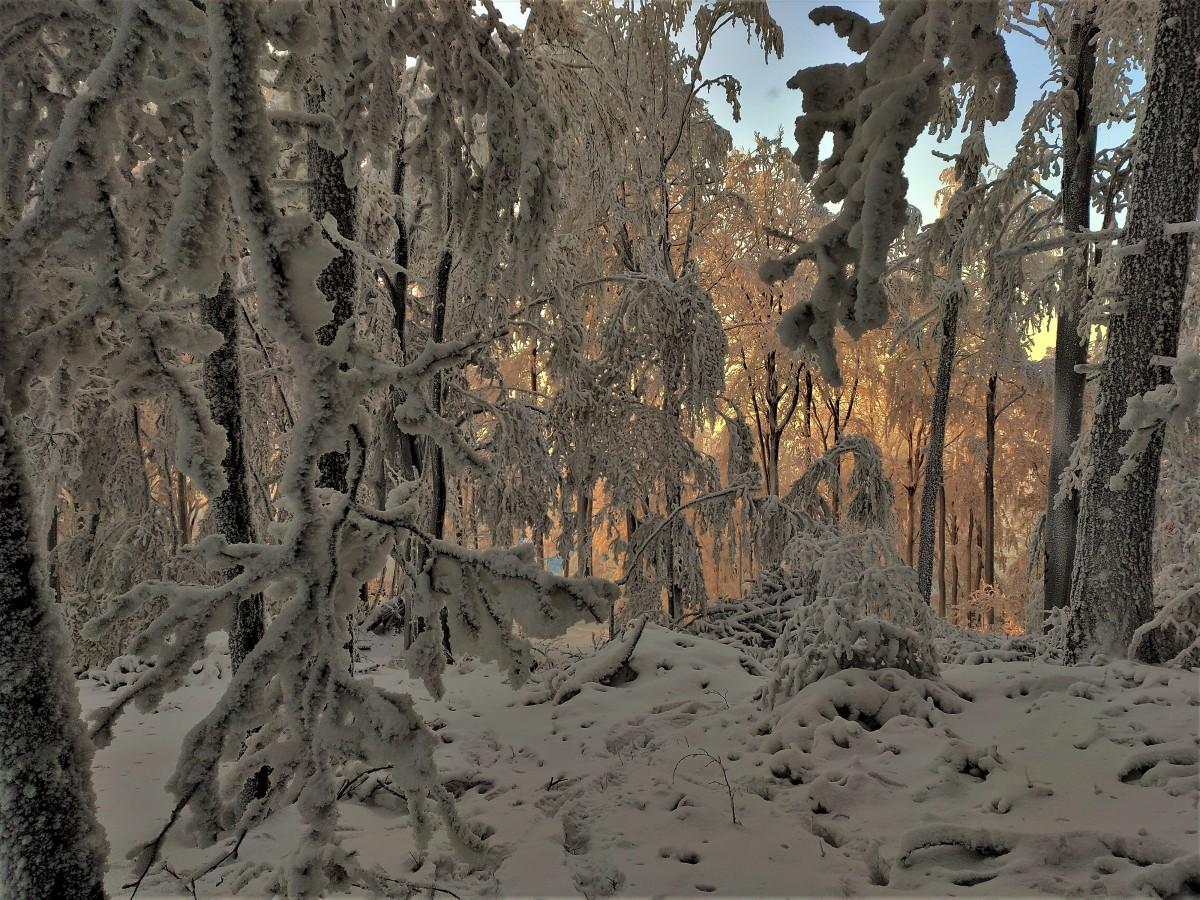 Zdjęcia: w drodze, Beskid Mały, mroźny zachód słońca, POLSKA