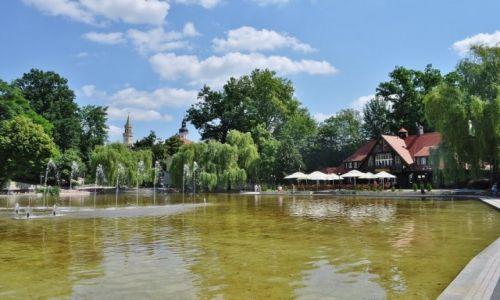 POLSKA / Śląsk Opolski / Opole / Park, fontanna i kawiarnia w Opolu