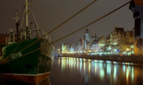 Zdjecie POLSKA / Pomorze / Gdańsk / nocą na Motławie