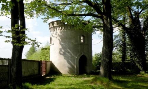 Zdjecie POLSKA / opolskie / Przydroże Małe / Baszta widokowa, w murze ogrodzenia.