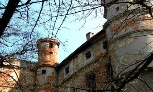 Zdjęcie POLSKA / opolskie / Głogówek / Zewnętrzne mury zamkowe z basztą
