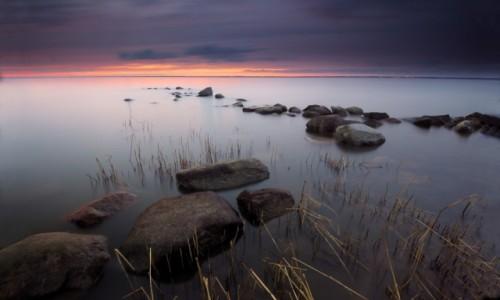 POLSKA / warmia  / Suchacz  / zmierzch na  zalewie Wiślanym , widok na  Krynice  Morską