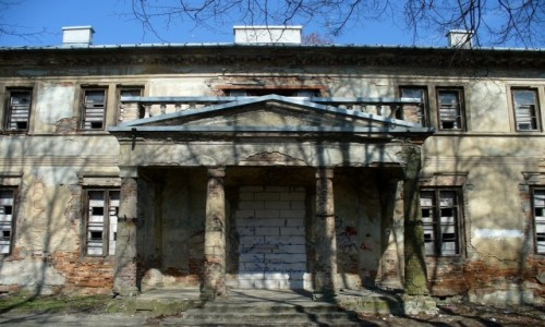 Zdjęcie POLSKA / Łódzkie / Ruda / Fonton pałacu, podparty na kolumnach.