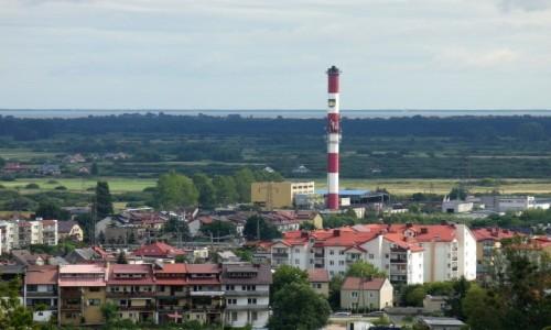 POLSKA / pomorskie / Reda / Panorama miasta,w dali zatoka Pucka i półwysep helski