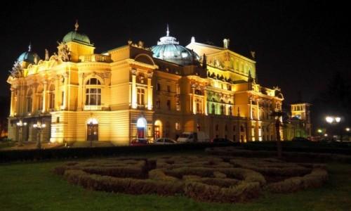 Zdjecie POLSKA / Małopolska / Kraków, Teatr im. J. Słowackiego / nocą...